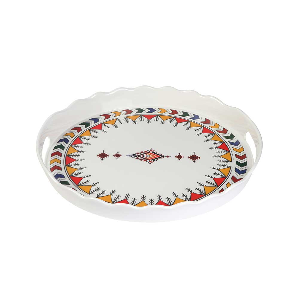Melamine Tray To Serve In A Different Heritage Pattern On A Circular Shape With A Pattern In The Middle متجر 15 وأقل