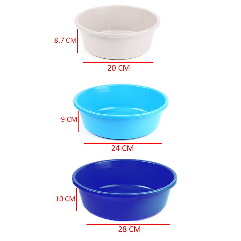 Mixed Colors Plastic Washing Basin- 3 Pieces And Three Different Sizes متجر 15 وأقل