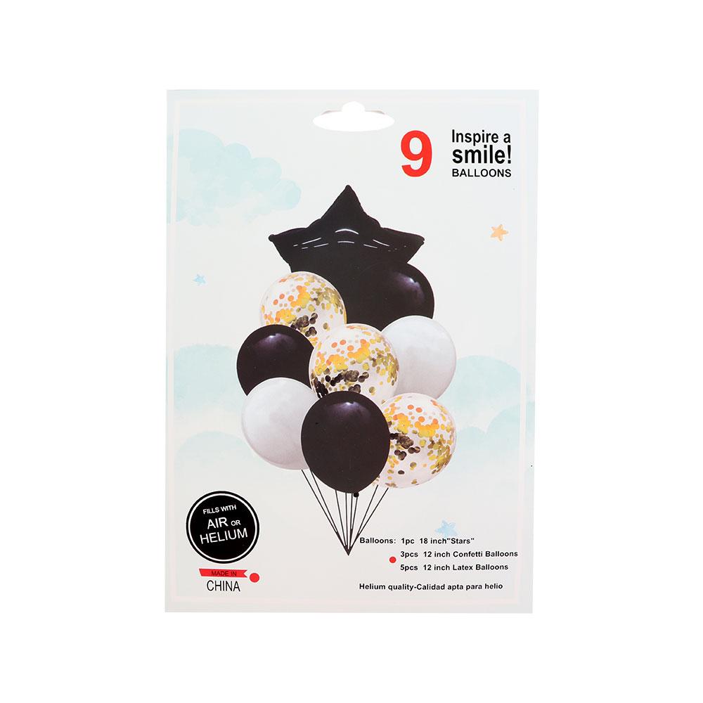 بالونات سادة و بقصاصات ورق مع بالون بشكل نجمة باللون أسود و الأبيض 9 قطع متجر 15 وأقل