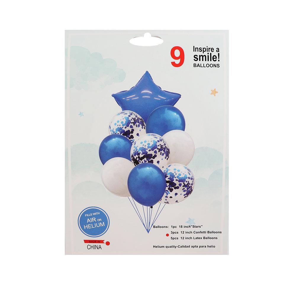 بالونات سادة و بقصاصات ورق مع بالون بشكل نجمة باللون أزرق و الأبيض 9 قطع متجر 15 وأقل