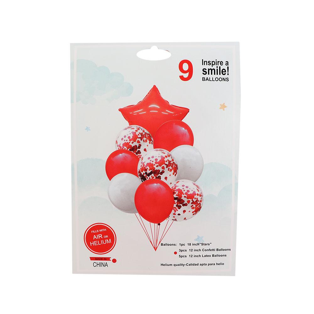 بالونات سادة و بقصاصات ورق مع بالون بشكل نجمة باللون أحمر و الأبيض 9 قطع متجر 15 وأقل