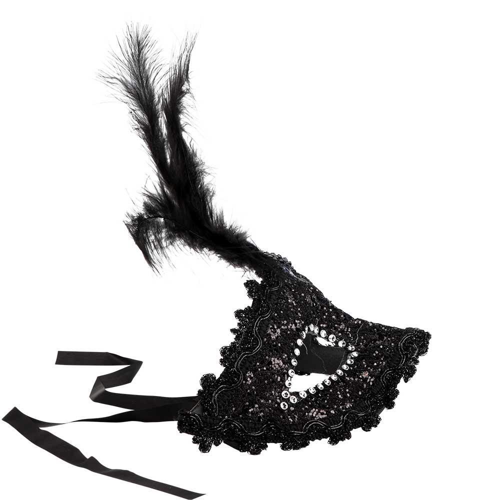 قناع عيون -لون أسود مع ريش متجر 15 وأقل