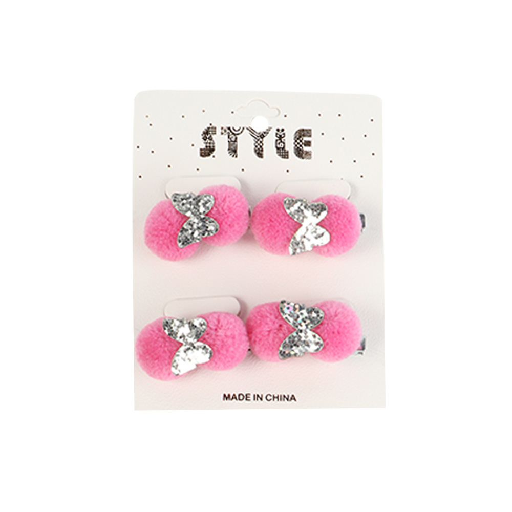 Fur Hair Clip Decorated With Butterfly - 4 Pieces - Color Pink متجر 15 وأقل