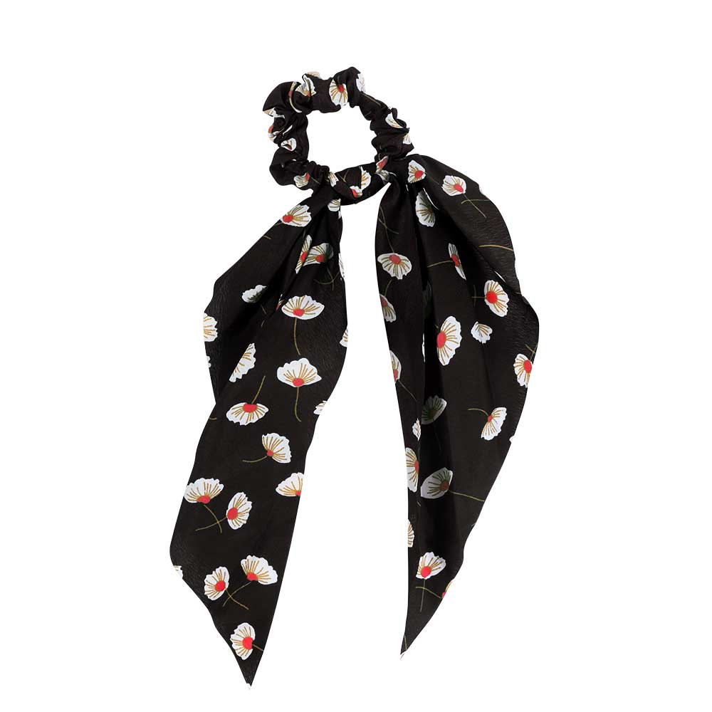 Floral Satin Hair Tie - With Black Background And White Flower متجر 15 وأقل