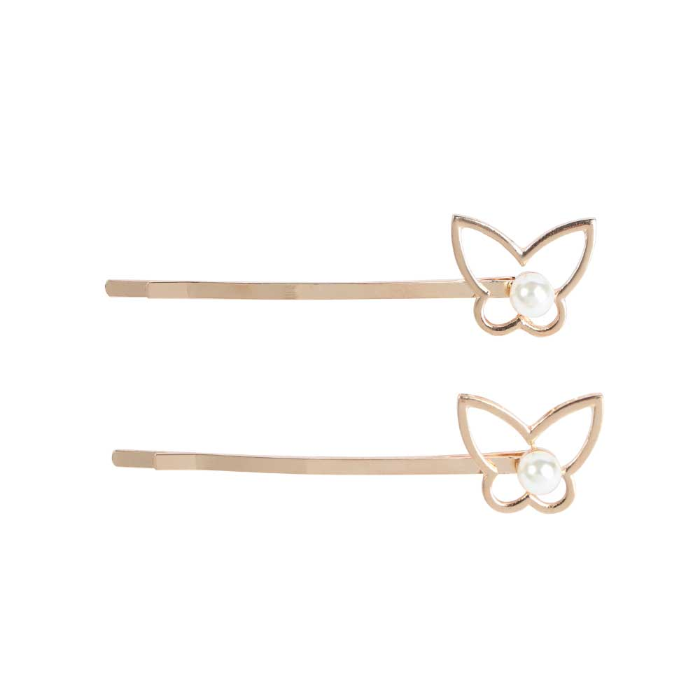 Butterfly Hair Clip With Pearl - Golden Color متجر 15 وأقل