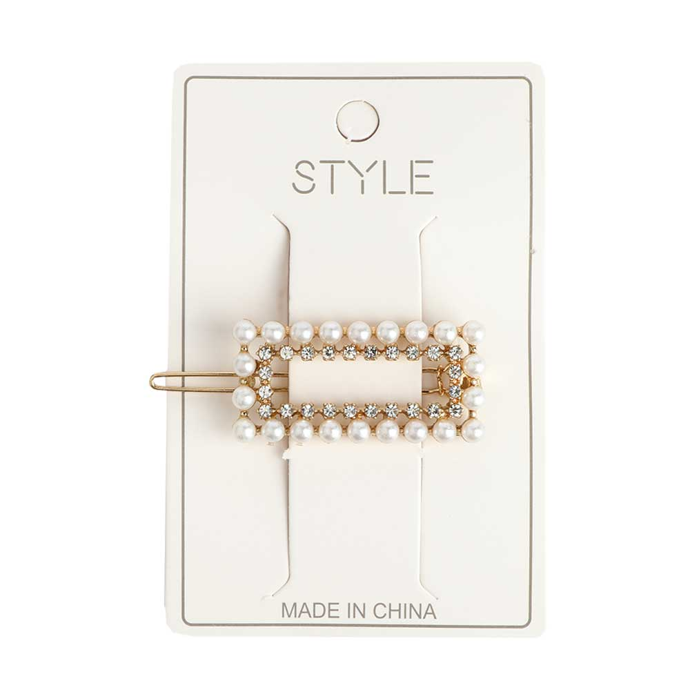 Rectangle Shaped Hair Clip - Color Golden - With Sparkling lobes And Pearls متجر 15 وأقل