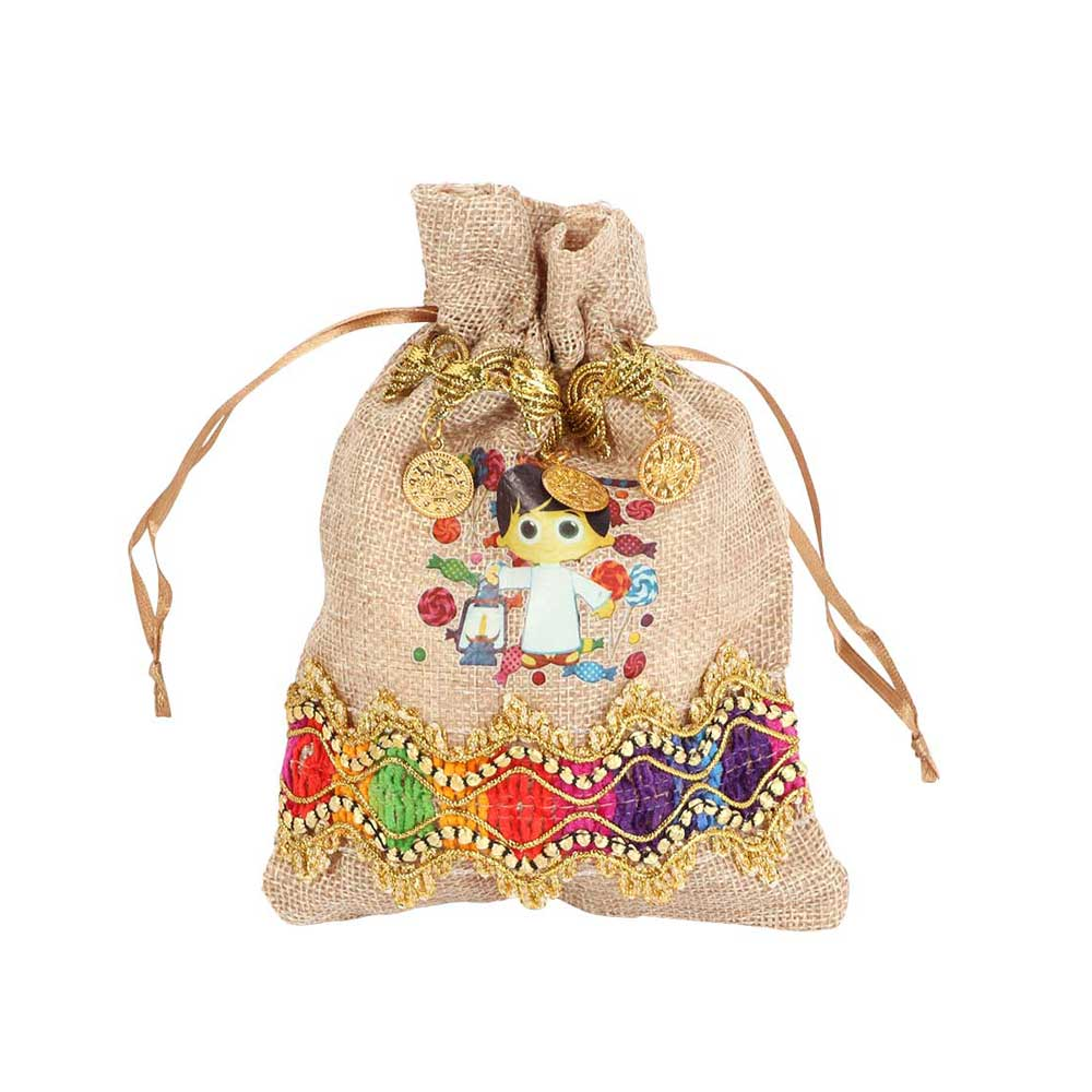 Gift Bags For Giveaways - Color Brown Burlap - With a Boy's Drawing 1 bag متجر 15 وأقل