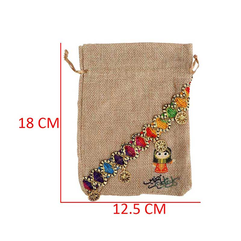 Gift Bags For Giveaways - Color Brown Burlap - With a girl's Drawing 1 Bag متجر 15 وأقل