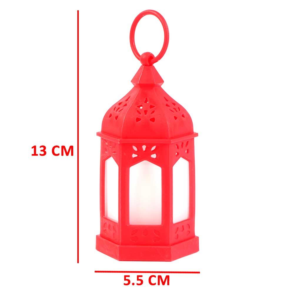 Ramadan hexagonal lantern lit with a Red electronic candle متجر 15 وأقل