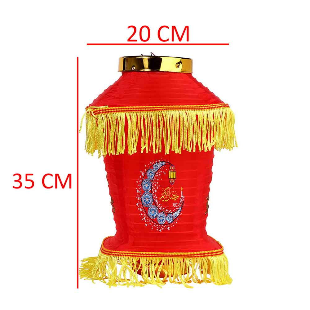 Ramadan Hanging Fabric lantern Red Color With Yellow Decorations 35cm Length متجر 15 وأقل
