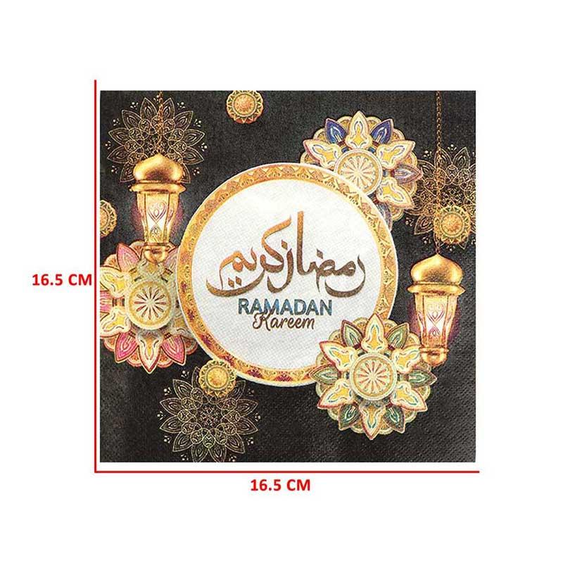 مجموعة مناديل مائدة بطبعة رمضان يجمعنا لون أسود - 48 قطعة متجر 15 وأقل