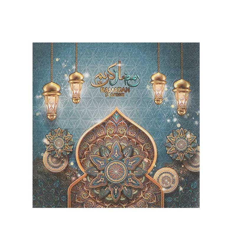 "Ramadan Brings Us Together"" printed blue napkin set - 48 pieces متجر 15 وأقل"