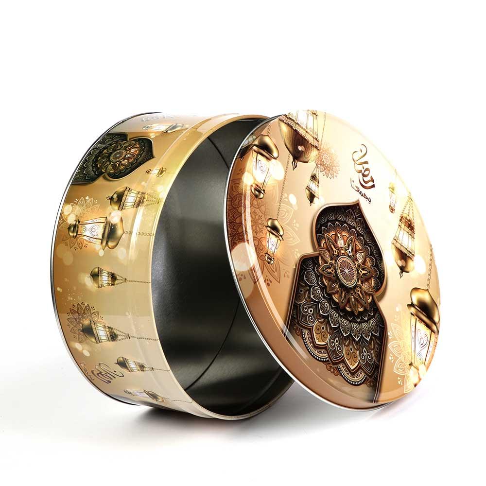 Ramadan gift box metallic circular shape 19.5×19.5 brown color متجر 15 وأقل