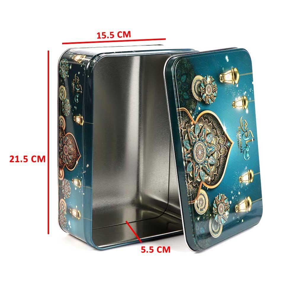 علبة هدايا رمضان معدنية شكل مستطيل مقاس 21×15 بلون أزرق متجر 15 وأقل