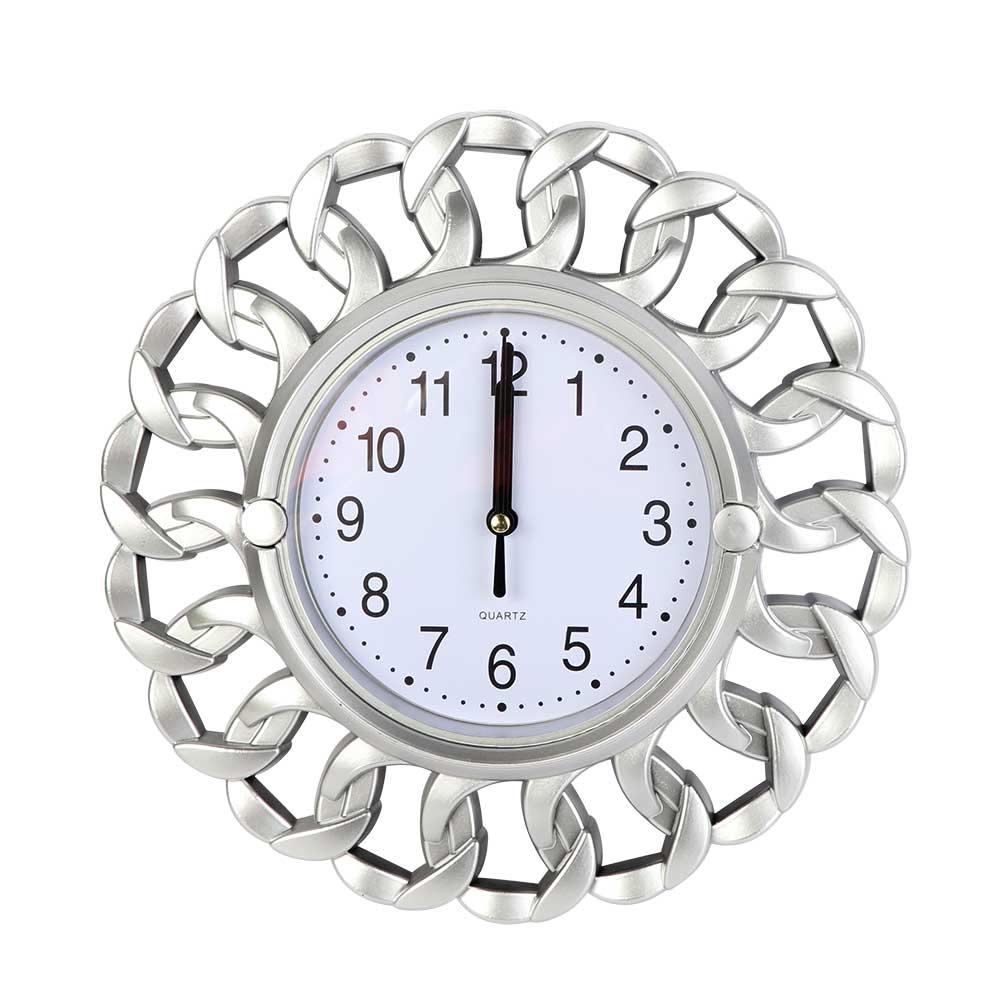 ساعة حائط بعقارب بتصميم دائري لون فضي متجر 15 وأقل