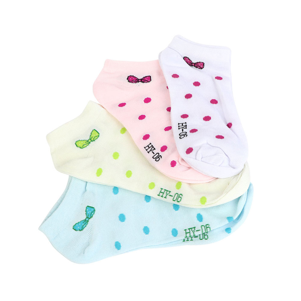 A Set Of Short Socks For Girls - 4 Pieces - Dotted With A Bow متجر 15 وأقل