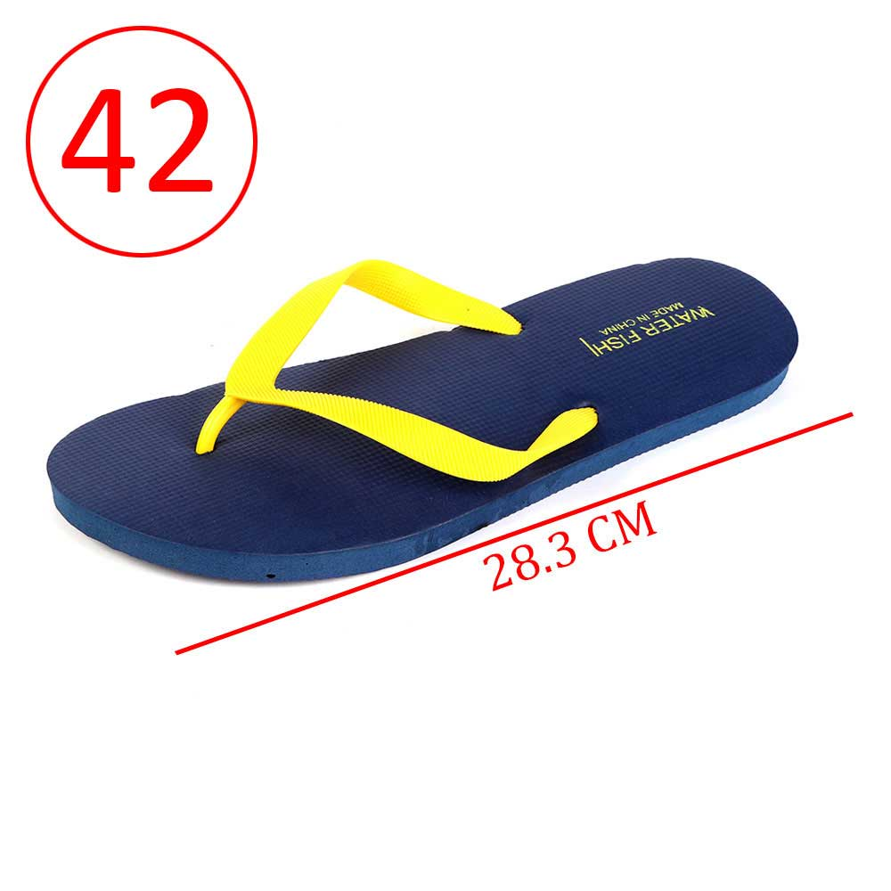 Men Rubber Slippers Size 42 Color Dark Blue and Yellow متجر 15 وأقل