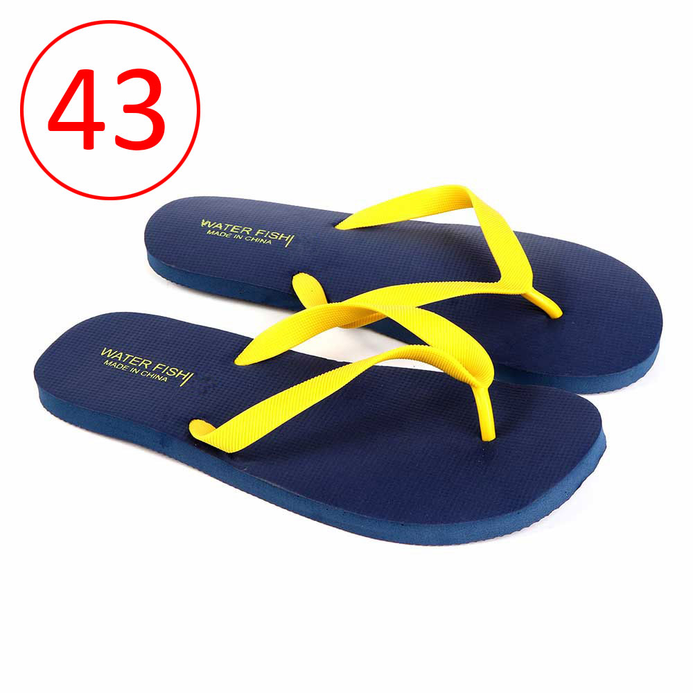 Men Rubber Slippers Size 43 Color Dark Blue and Yellow متجر 15 وأقل
