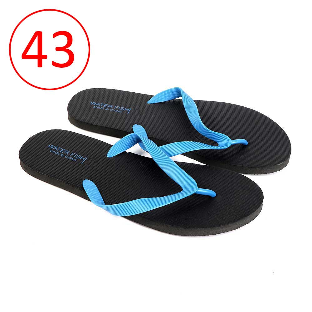 Men Rubber Slippers Size 43 Color Black and Blue متجر 15 وأقل