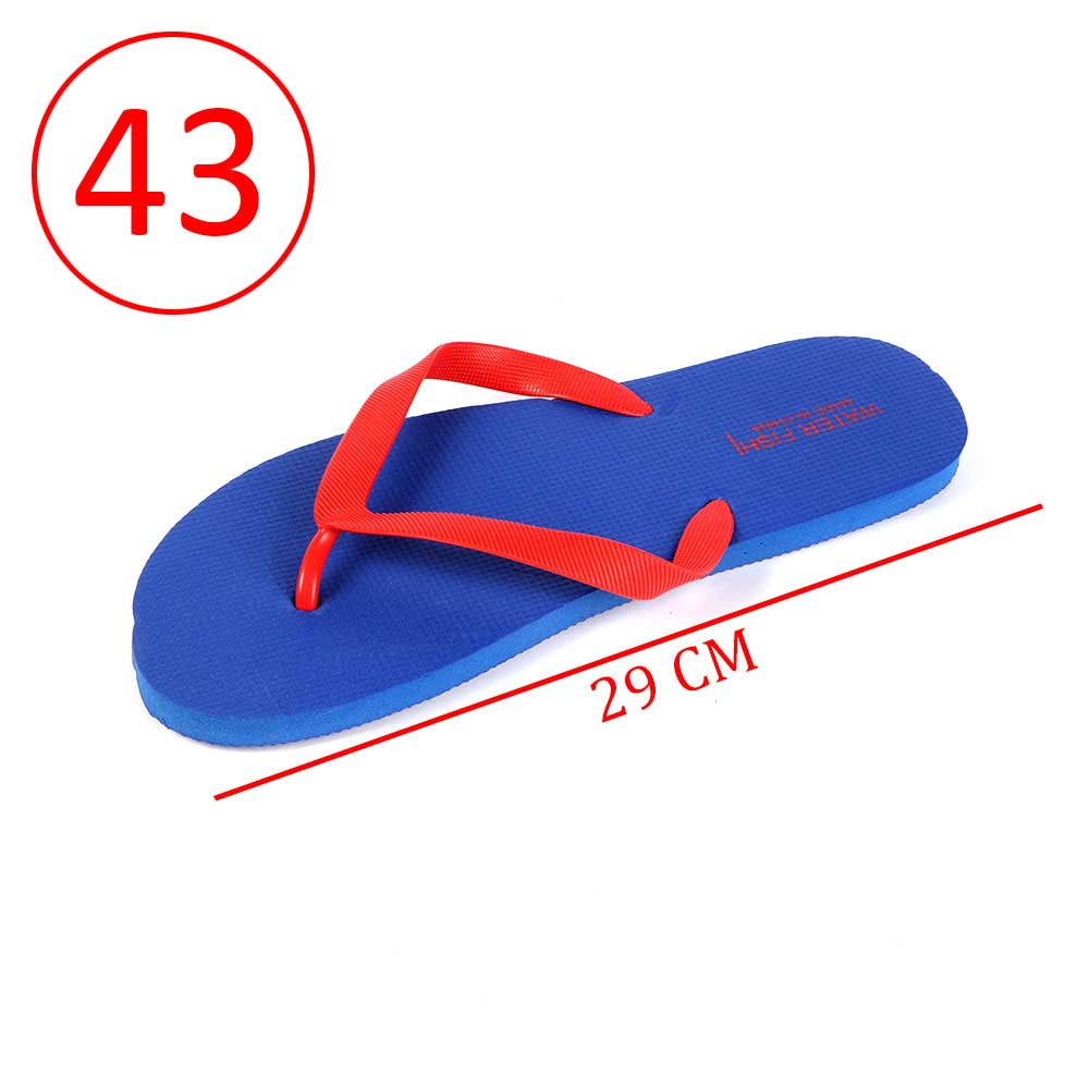 Men Rubber Slippers Size 43 Color Blue and Red متجر 15 وأقل