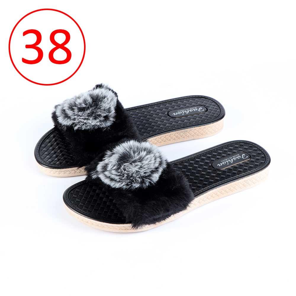 حذاء فرو للسيدات مقاس 38 لون أسود متجر 15 وأقل