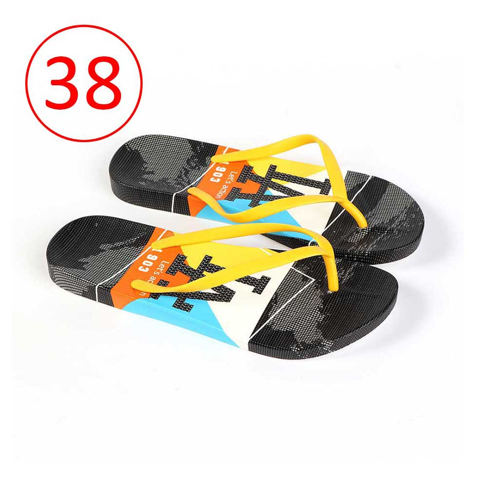 Plastic Shoes For Women With letters size 38 Color Yellow and Black متجر 15 وأقل