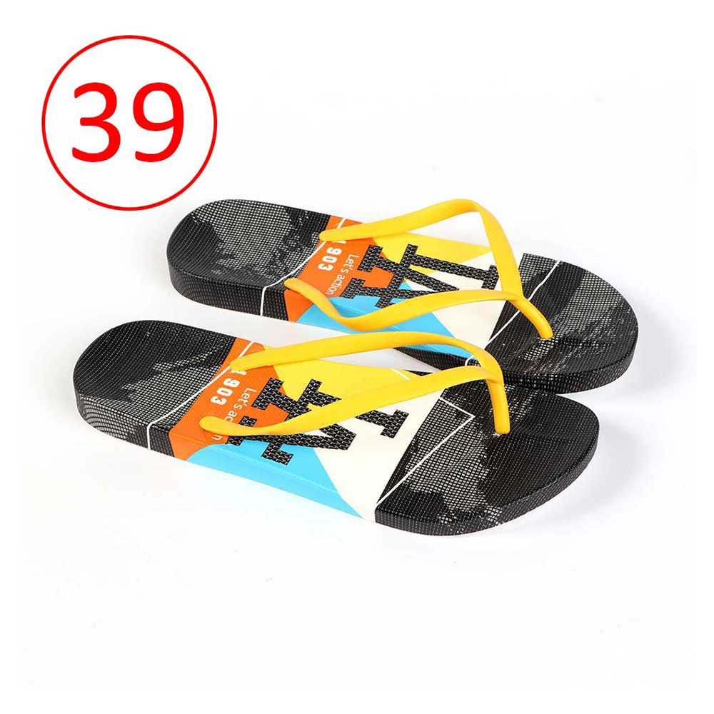 Plastic Shoes For Women With letters size 39 Color Yellow and Black متجر 15 وأقل