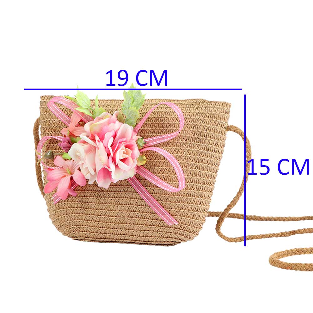 Burlap Bags For Girls- Color Brown With Pink Roses and Ribbon متجر 15 وأقل