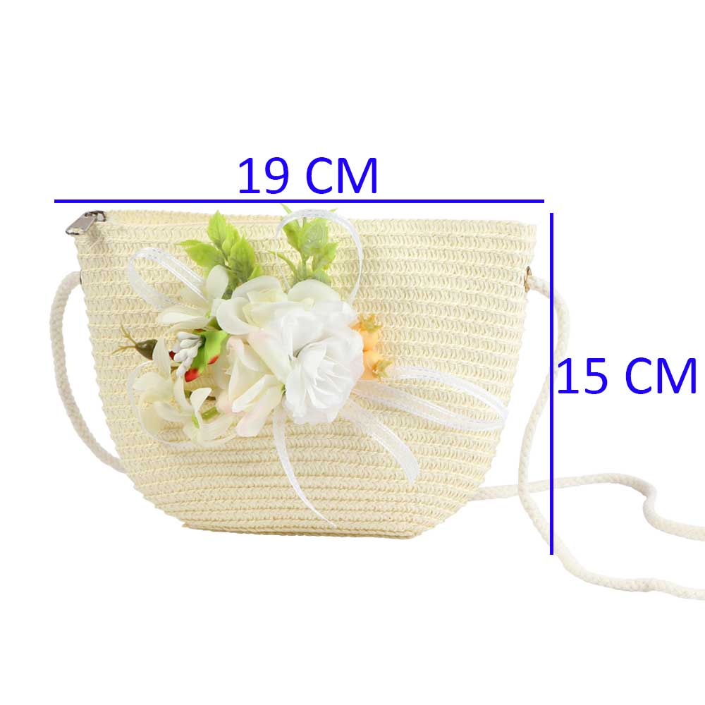 Burlap Bags For Girls- Color Off White-With White Ribbon and Roses متجر 15 وأقل