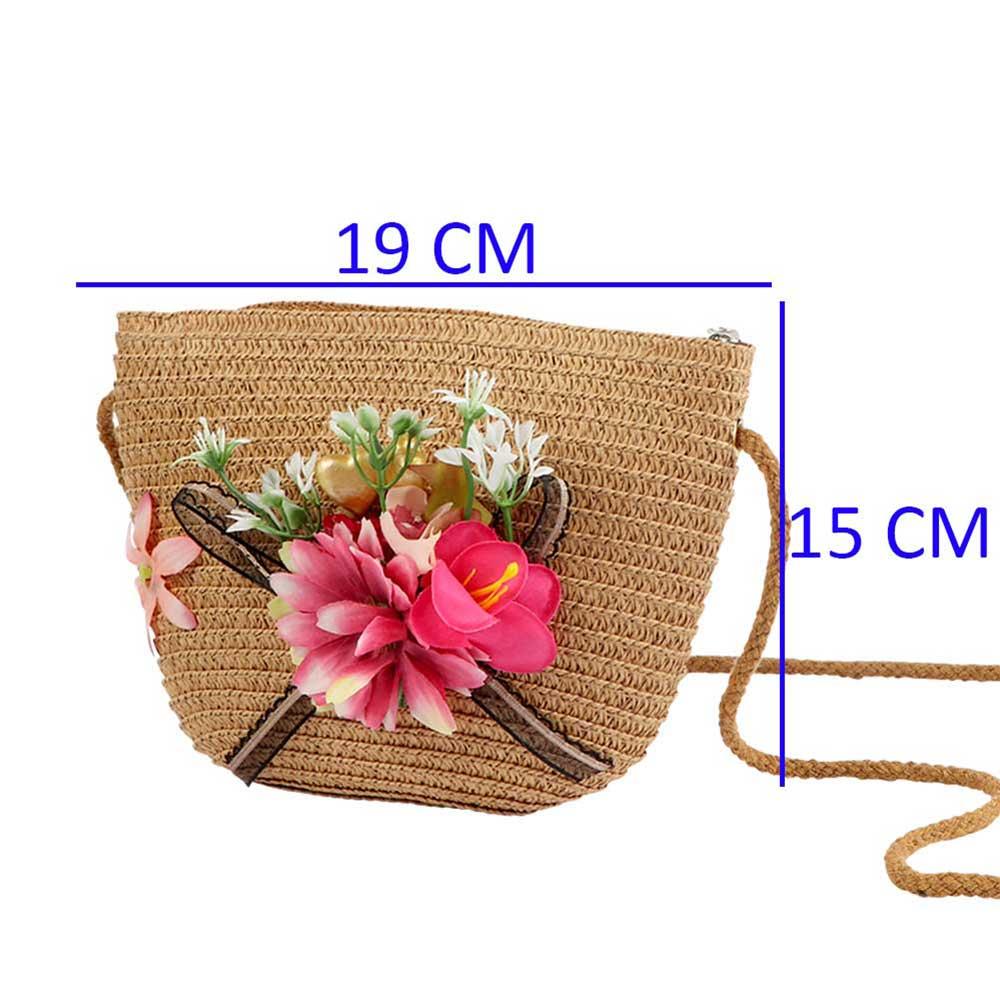 شنطة للبنات خيش لون بني مع شريطة سوداء و ورد وردي متجر 15 وأقل
