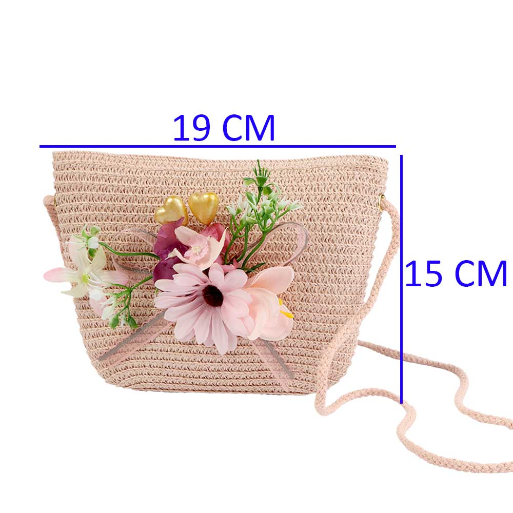 Burlap Bags For Girls- Color Pink with Gray Ribbon and Pink Roses متجر 15 وأقل