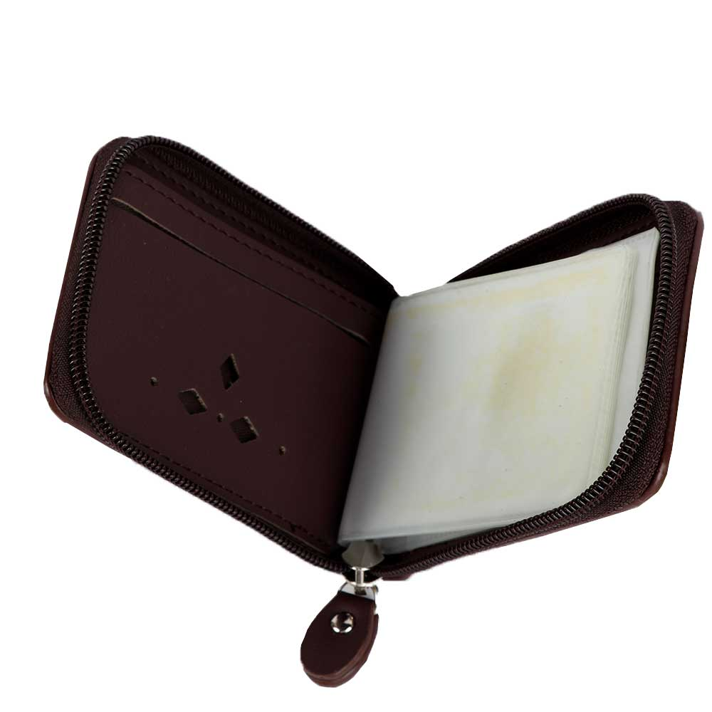 Zippered brown card wallet متجر 15 وأقل