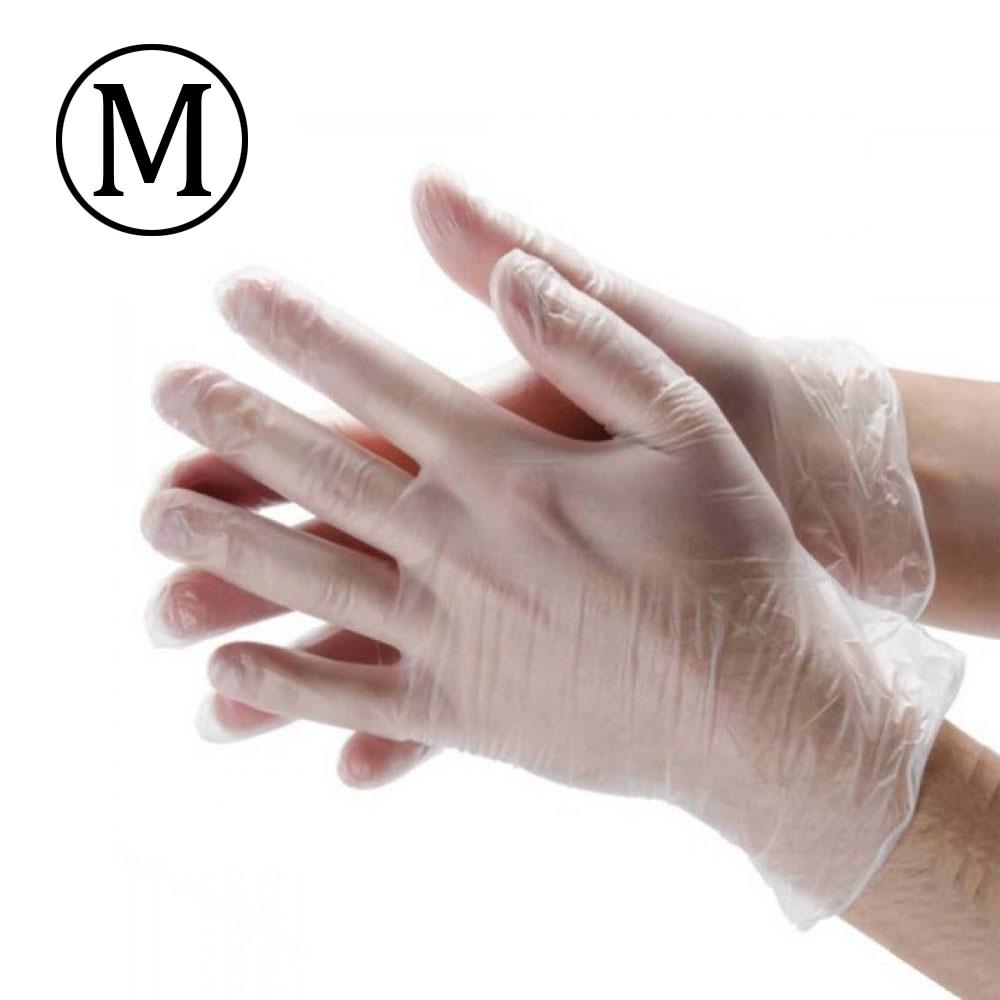 M قفازات - جونتي فينيل بلاستيك عبوة من 100 قطعة ذا جودة عالية وسط شفاف مقاس متجر 15 وأقل