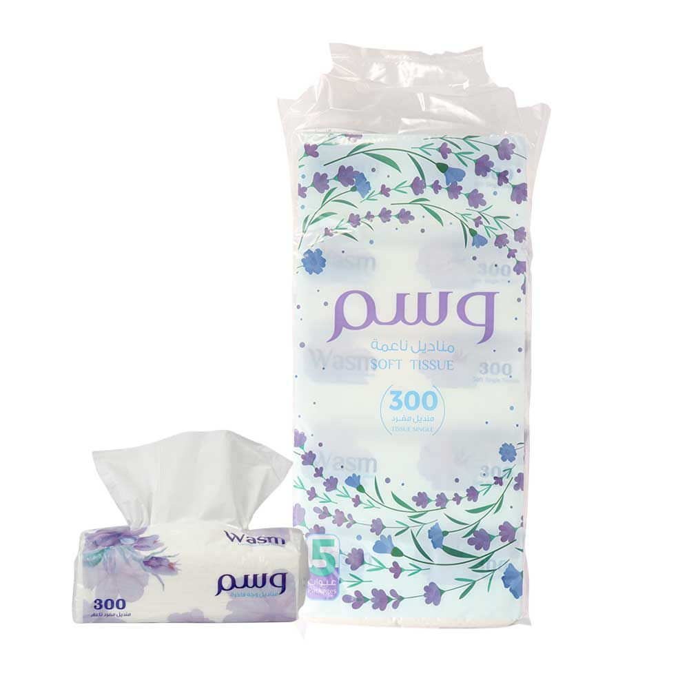 Wasm 300 Soft Tissues Pack of 5 PCS متجر 15 وأقل