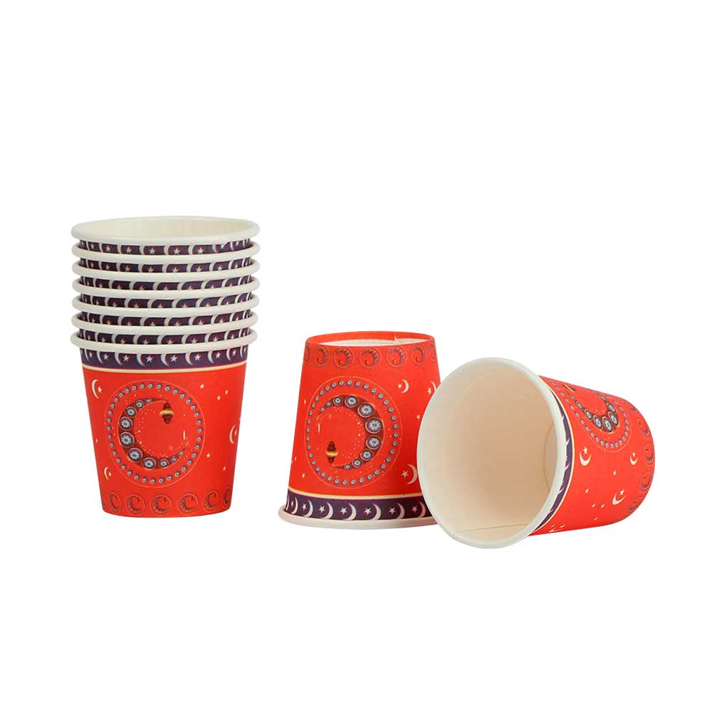 Ramadan Printed Paper Cups - Size 5 x 4.5 cm - with a Red Background متجر 15 وأقل