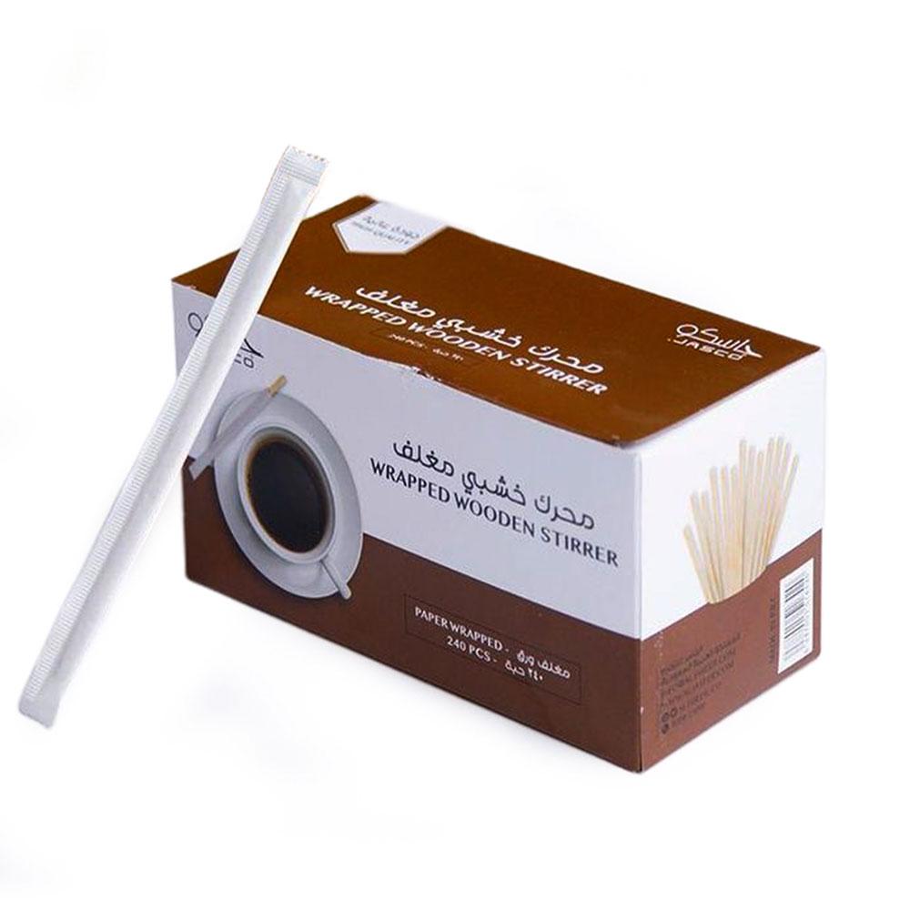 اعواد تقليب خشبية مغلفة جاسكو للقهوة أو الشاي عبوة 240 حبة 14سم بيج متجر 15 وأقل