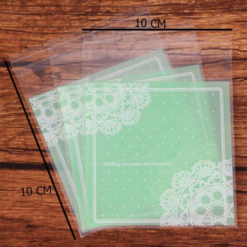أكياس تغليف نايلون شفافة بلاصق للغلق بزخارف هندسية بلون أخضر 10 قطع متجر 15 وأقل