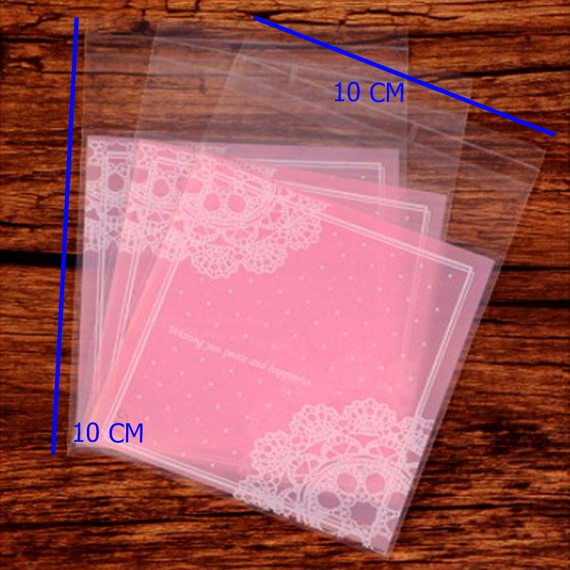 أكياس تغليف نايلون شفافة بلاصق للغلق بزخارف هندسية بلون وردي 10 قطع متجر 15 وأقل