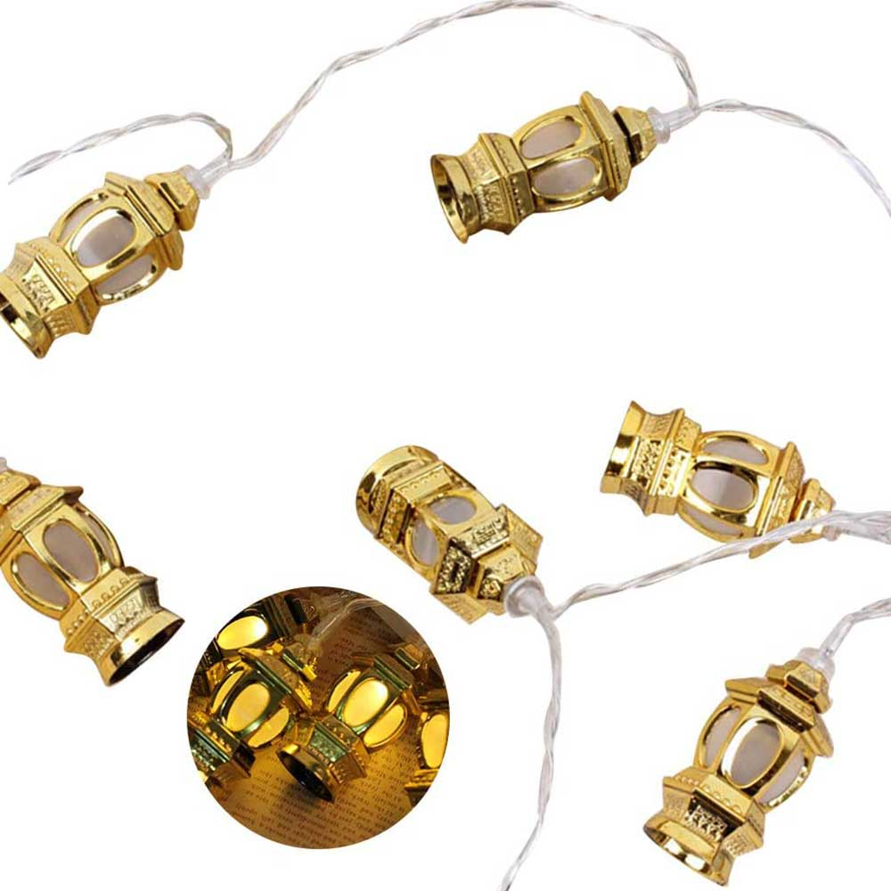 LED Suspension lights with Ramadan Lantern Shapes 2.20 Meter Color Golden متجر 15 وأقل