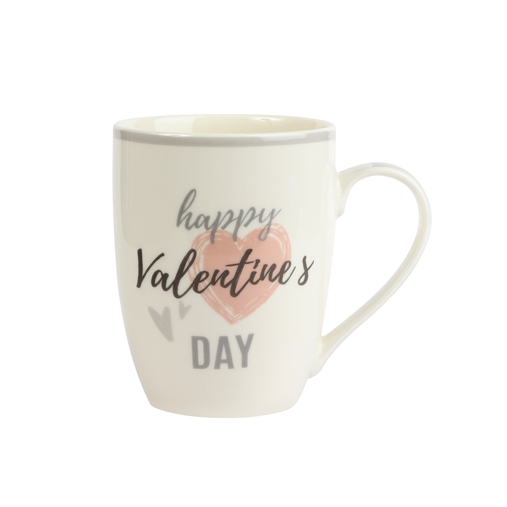 Ceramic Mug Cups In White Color With Gray Edges Model 1 متجر 15 وأقل