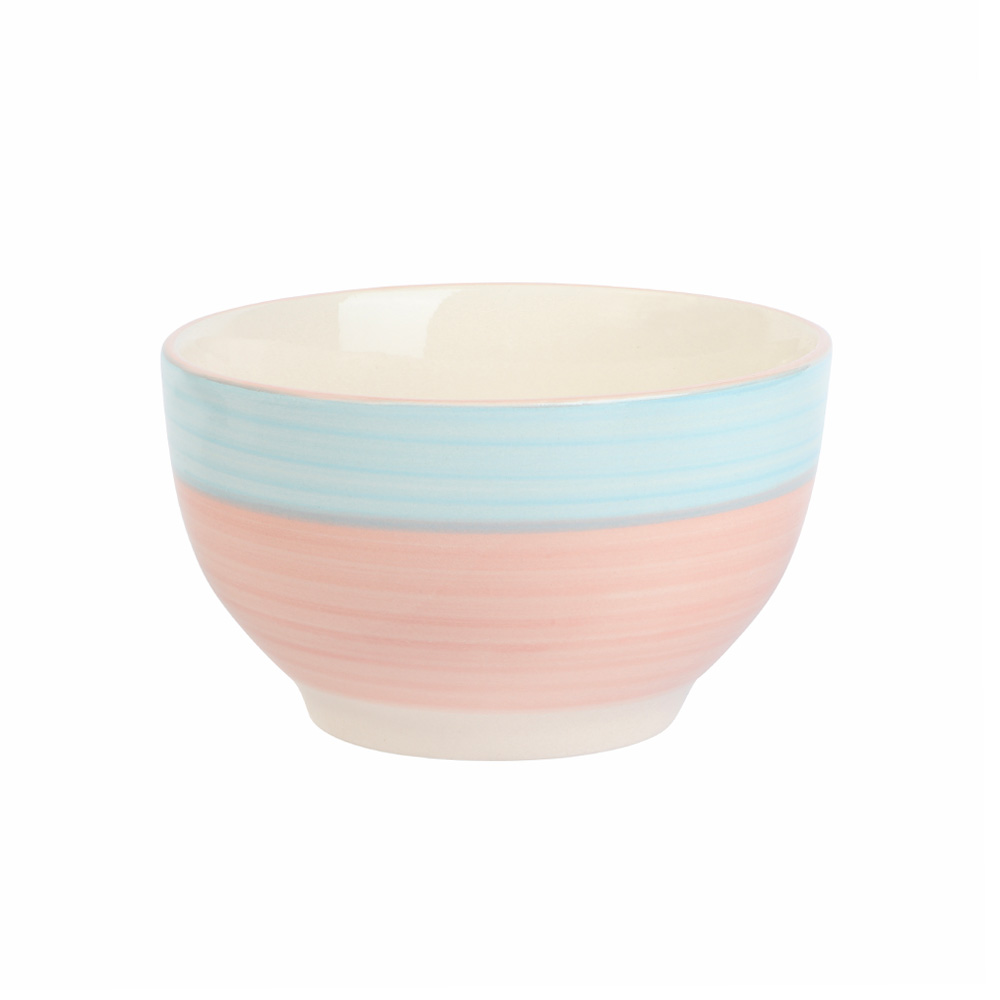 A Circular Ceramic Bowl In Pink With Blue Edges متجر 15 وأقل