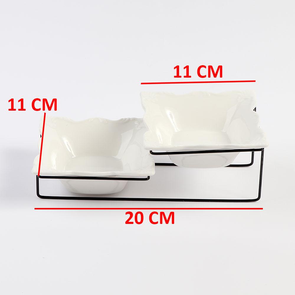 صحن سيراميك مربع الشكل مكون من قطعتين مع ستاند حديدي متجر 15 وأقل