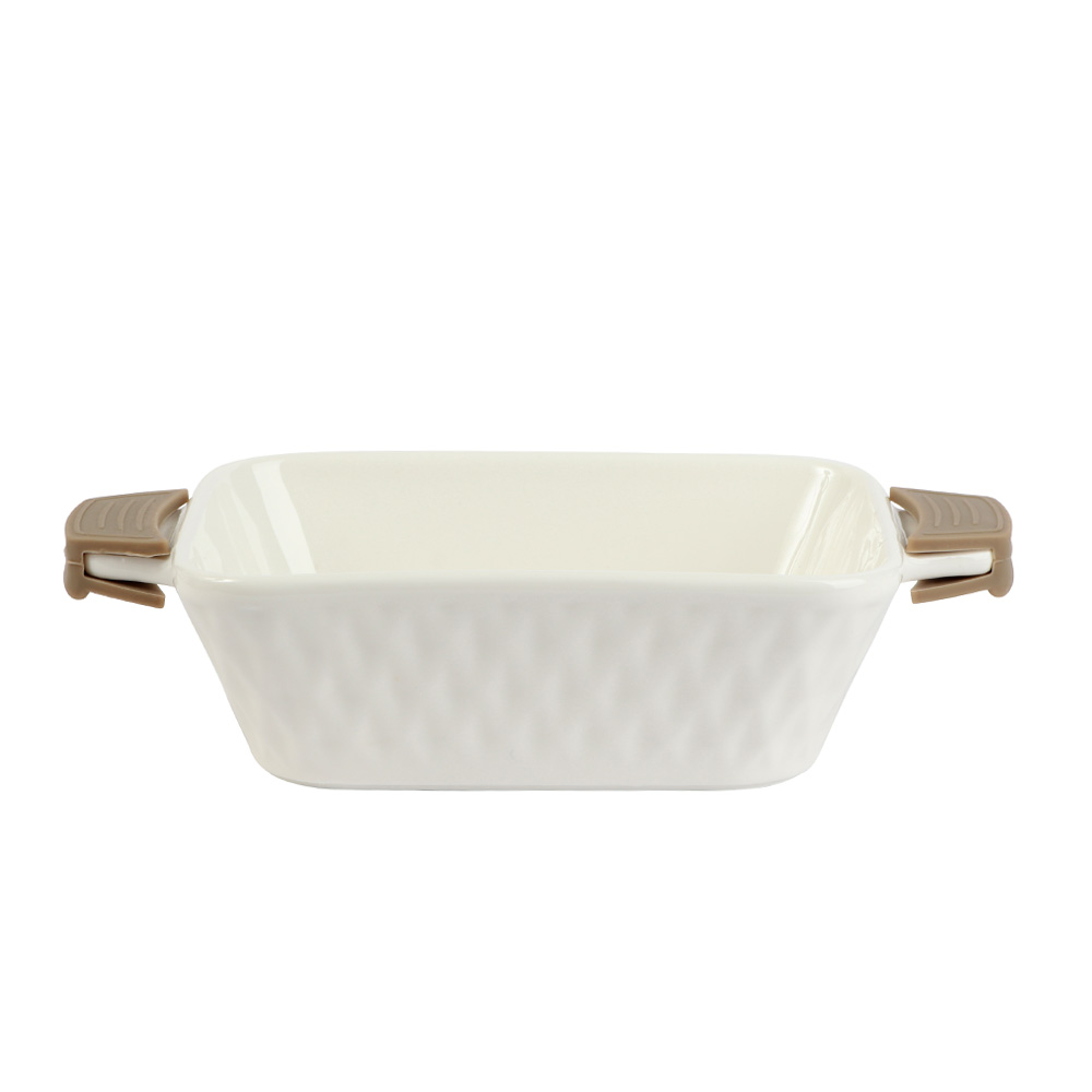 Rectangle Ceramic Dish With Silicon Handles In Brown Color متجر 15 وأقل