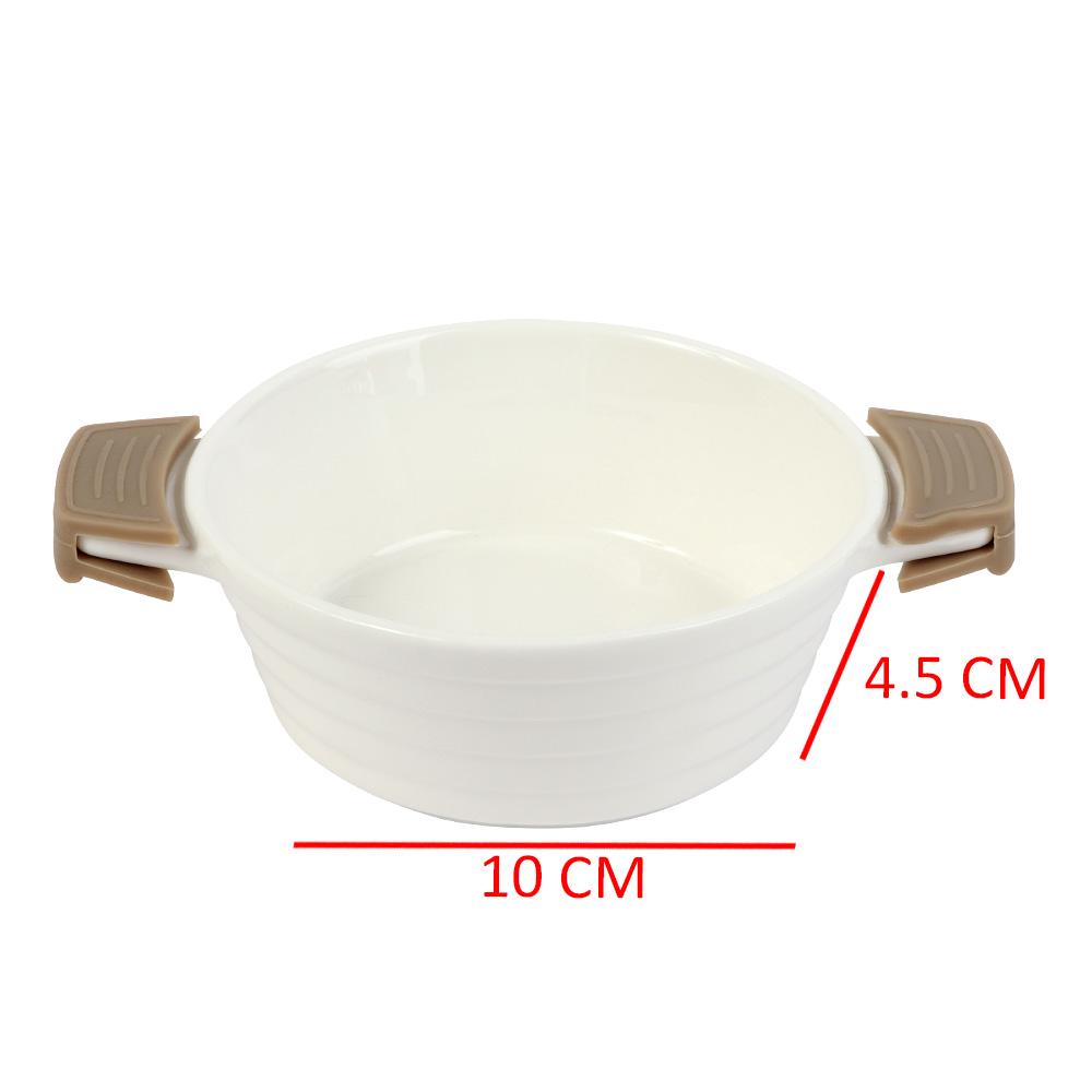 Circular Ceramic Dish With Silicon Handles In Brown Color متجر 15 وأقل