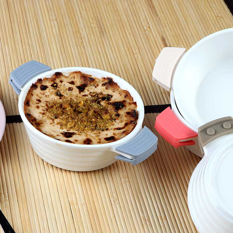 Circular Ceramic Dish With Silicon Handles In Beige Color متجر 15 وأقل