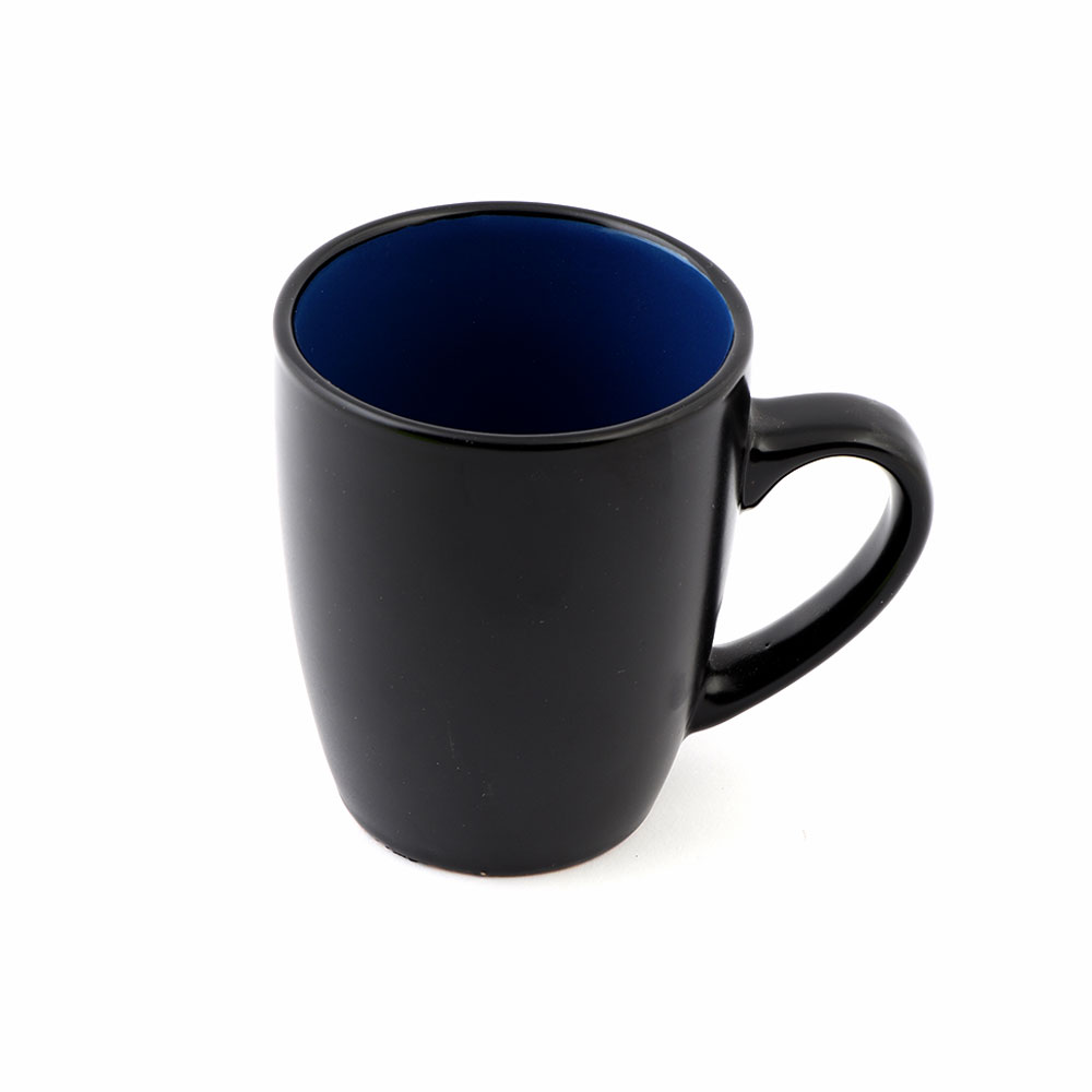 Black Ceramic Cup on the Outside and Blue From The Inside in an Modren Style. متجر 15 وأقل