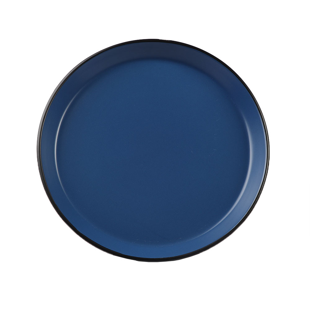 Large Circular Ceramic Dish in Black on The Outside and Blue from The Inside in a Modern Style متجر 15 وأقل