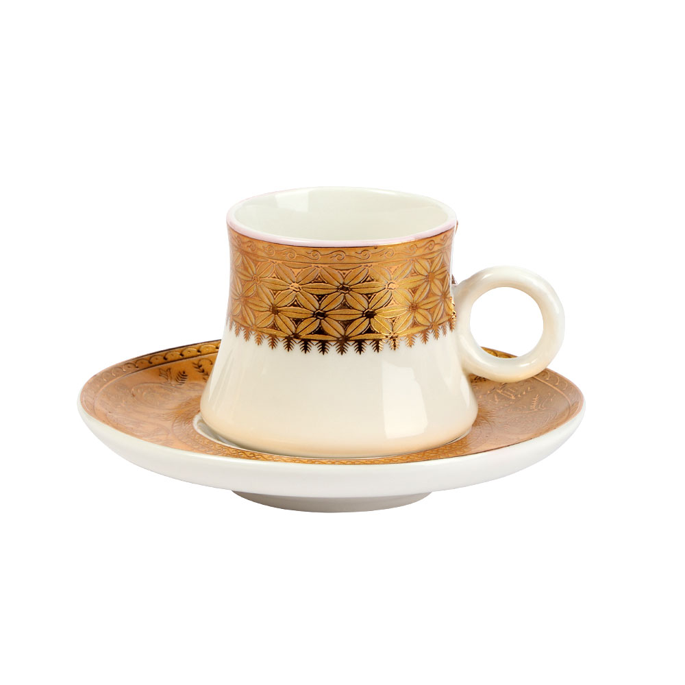 Turkish Coffee Cup And Saucer In White With Golden Color Decoration متجر 15 وأقل
