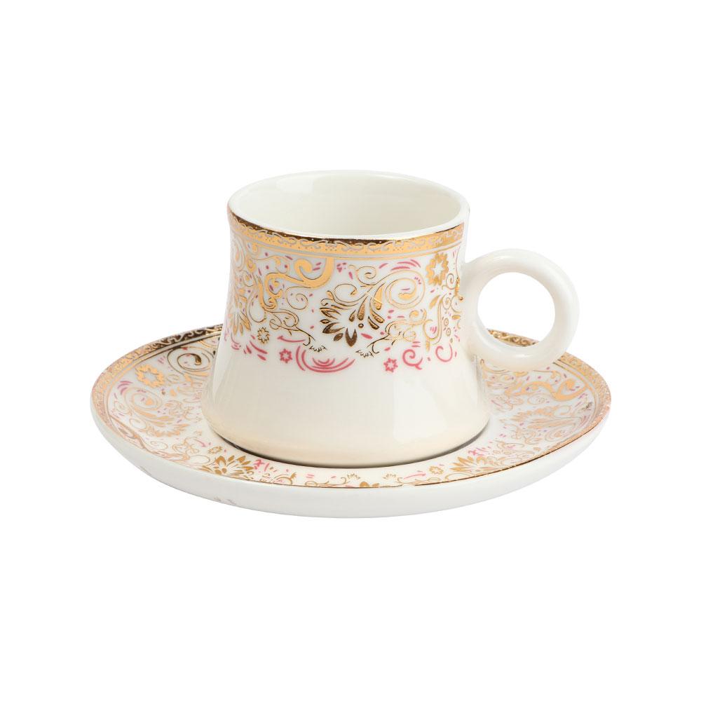 فنجان قهوة تركي مع صحن باللون الأبيض مع زخرفة باللون الذهبي مع لمسة من اللون الوردي متجر 15 وأقل