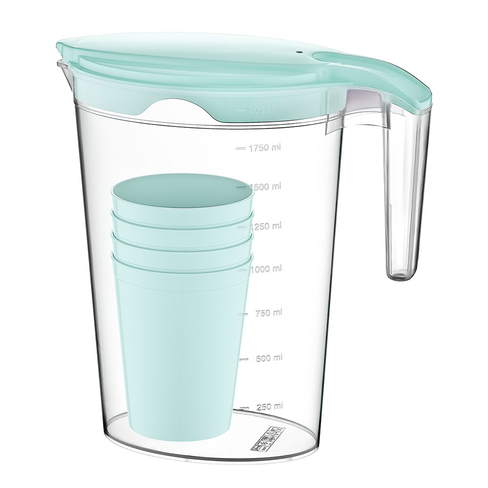 Transparent Plastic Jug With A Cover And 4 Cups In Tiffany Color متجر 15 وأقل